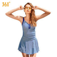 361 Women One Piece Swimsuit Blue Red Stripe Skirted Swimsuit Beach Pool Fashion Swimwear 2018 Ladies Bathing Suits Girl Bather