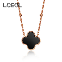 LCEOL Double Faced Black Four Leaf Clover Necklace Female Rose Gold Short Design Pendant Chain Necklaces