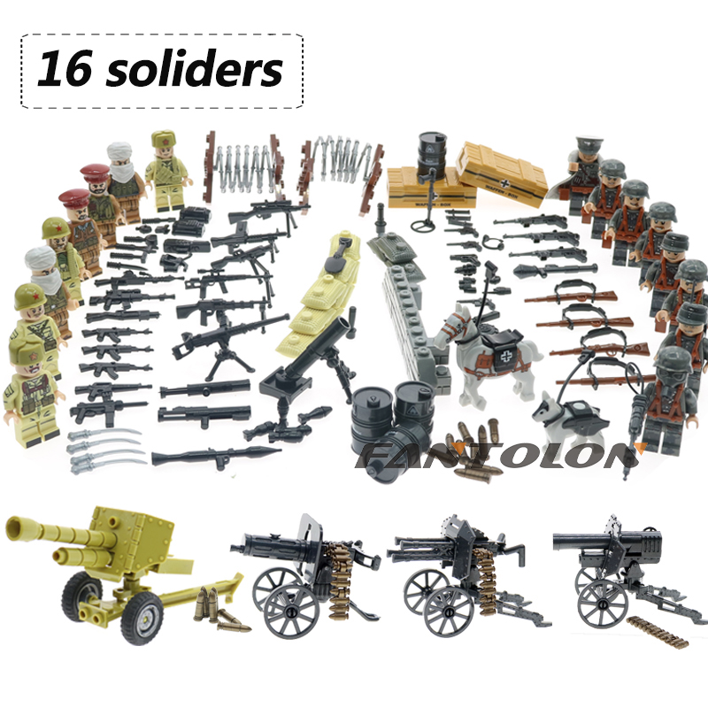 цена With many weapons WW2 military Russian VS Afghanistan army soliders building blocks sets Compatible with legoly eduaction toys