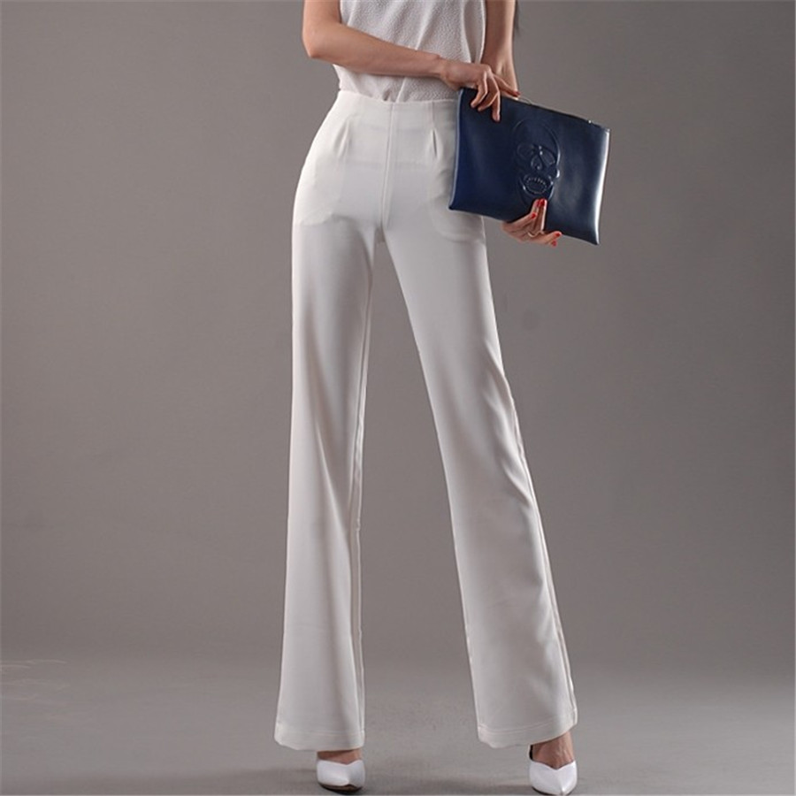 High Waist Summer Casual Wide Leg Pants Women Black White Flare Leg Trousers Women Workwear Office Lady Pantalon Femme Ds50636
