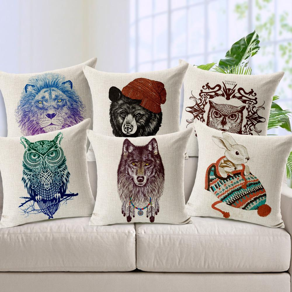 Hand-painted Animal Cushion Lion Wolf Bear Owl Cushion Decorative Pillow cushions without ...