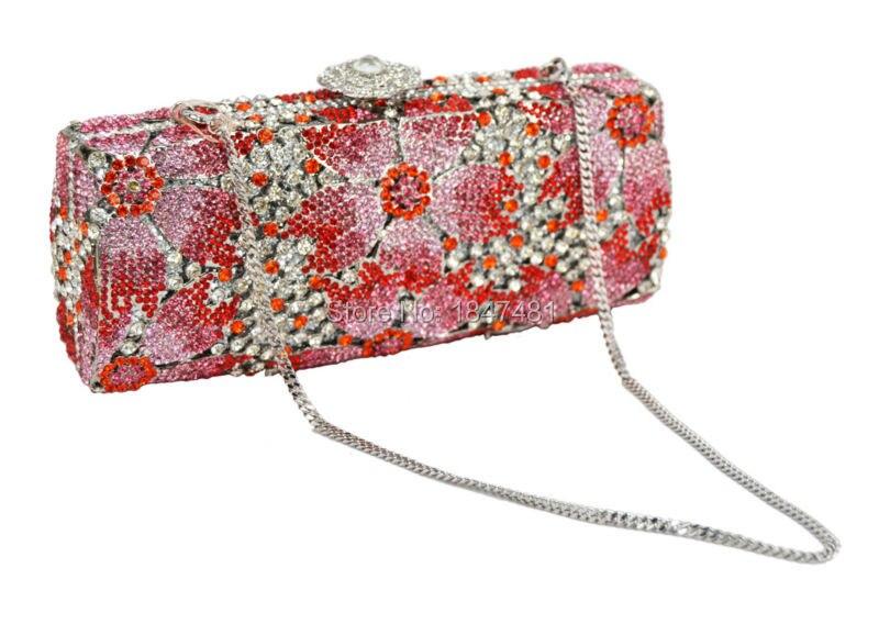 ФОТО LaiSC Golden silver green Bridal clutch bag long shape flower pattern plated alloy diamante women clutch purse evening bag SC151