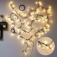 Globe LED Branch Bendable Rattan String Fairy Light 110v 220v Artificial Tree Branch Pendant String Lights for home Garden