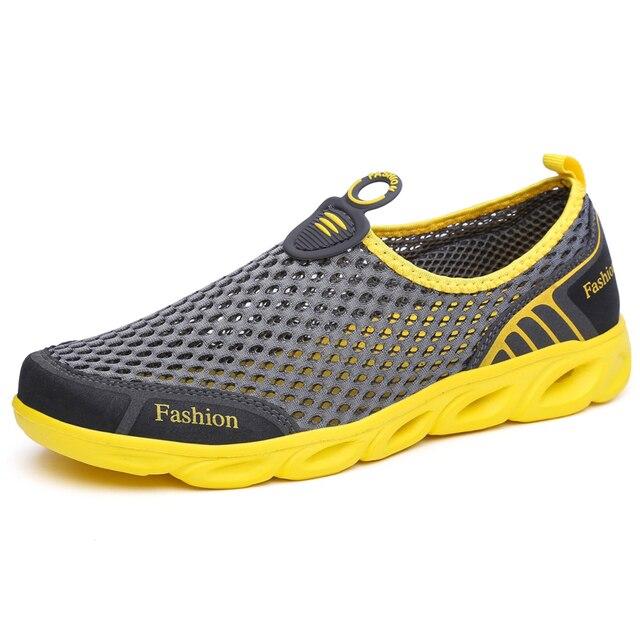 Männer Casual Schuhe 2019 Sommer Mode herren Schuhe Mode Atmungs Slip Auf Mesh Schuhe Weiche Komfortable Größe 45