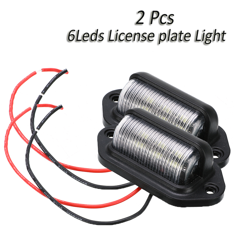 2Pcs 6LEDs 12V Number Plate Light License Plate Light Lamp Car Boat RV Truck Tail Light Trailer Step Lamp White Waterproof