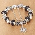 HOMOD prata banhado contas de cristal Charme pulseiras para mulheres Original DIY Jóias