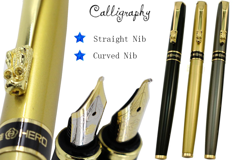 Fountain pen  Curved Nib Calligraphy pen HERO 1508 Dragon Clip Signature pens The best gifts  Free  Shipping art palace 966 picasso 0 38mm nib fountain pen commercial calligraphy fountain pen lettering smooth writing pens