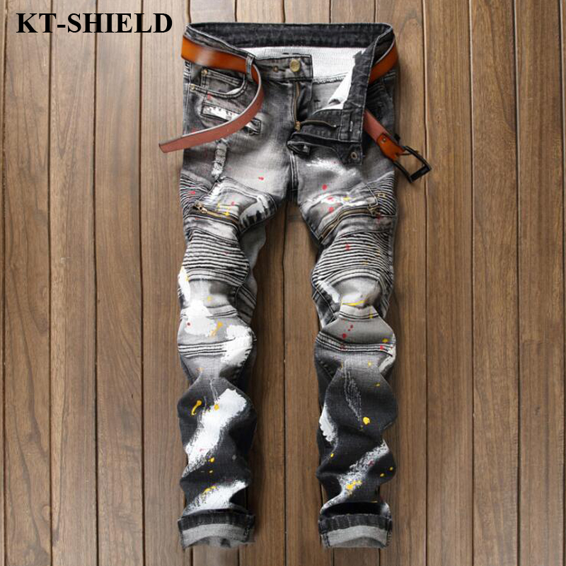 Luxury men s brand jeans New arrival black cotton fashion denim pants for man biker distressed
