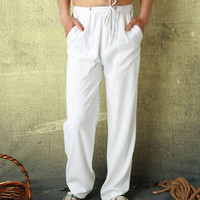 Hot 2018 di Estate di Modo di Stile Casual Maschile Pantaloni di Lino Fluido di Colore Solido Dritto Allentati Sottili Uomini Traspirante Bianco Pantaloni Lunghi