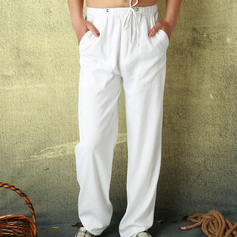 Hot 2018 Summer Style Fashion Male Casual Linen Pants Solid Color Straight Loose Thin Breathable Men White Fluid Long Trousers