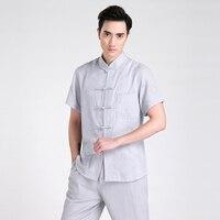 Hot Sale Gray Chinese Men S Cotton Linen Kung Fu Shirt Summer Short Sleeve Shirt Martial