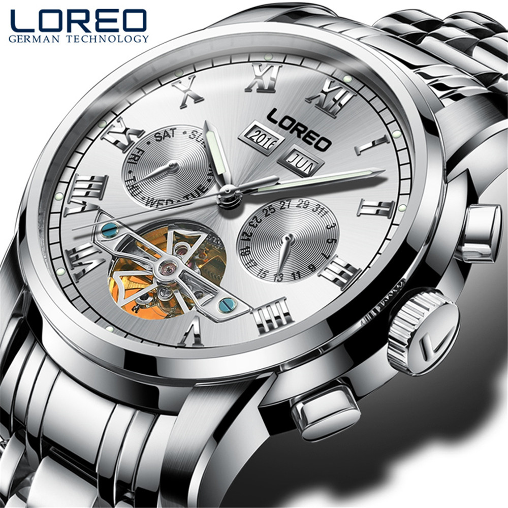Perpetual Calendar Tourbillon Mechanical mens watches top brand luxury Stainless steel Waterproof LOREO men's watch Luminous