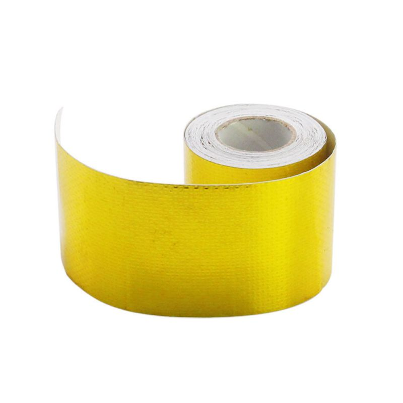 2019 5m*5cm Fiberglass Heat Reflective Tape Gold High Temperature Heat And Sound Shield Wrap Roll Adhesive Car Styling