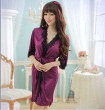 Female Sexy Satin Lace Silk Soft Underwear Lingerie Nightdress Sleepwear Robe sex pajamas bathrobe dress Nightgown
