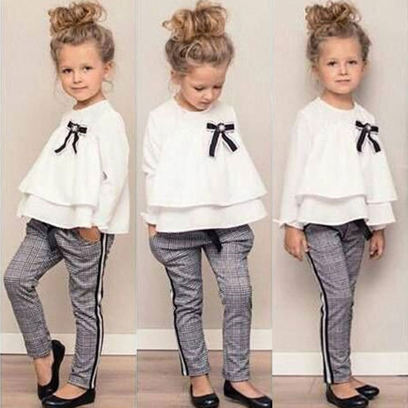 Dutiful In The Fall Of 2019 White Coat Plaid Pants Suit Girl 2 Woolly Chiffon Childrens Clothing Fashion In Europe And The Ins Clothing Sets Mother & Kids