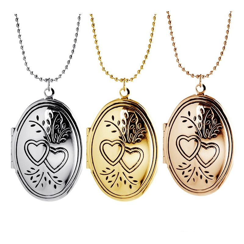New 3PCS/Lot Openable Elliptical Vinage Flower Floating Locket Necklace For Women Jewelry,Birthday Gift,MDNEN