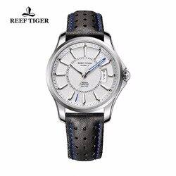 Reef Tiger/RT nowe markowe zegarki sportowe z dużą datą i Super świetlistym męskim zegarem ze stali automatyczny zegarek RGA166