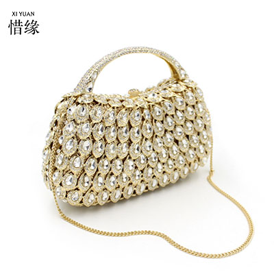 XIYUAN BRAND womans diamond gold evening shoulder bags female totes hand bag elegant party wedding bridal purse cross body bag