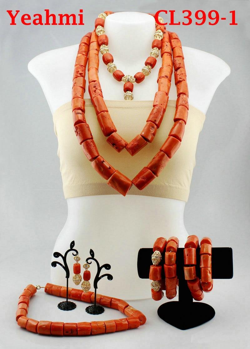 Mode femmes corail perles africaines ensembles de bijoux nigérian mariage Costume bijoux ensemble CL399-1
