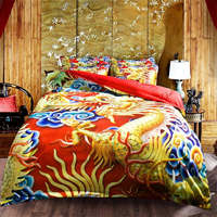 3d wedding bedding set traditional Chinese royal duvet cover 3/4 pc Dragon Phoenix bed clothes girl adult linens twin queen king