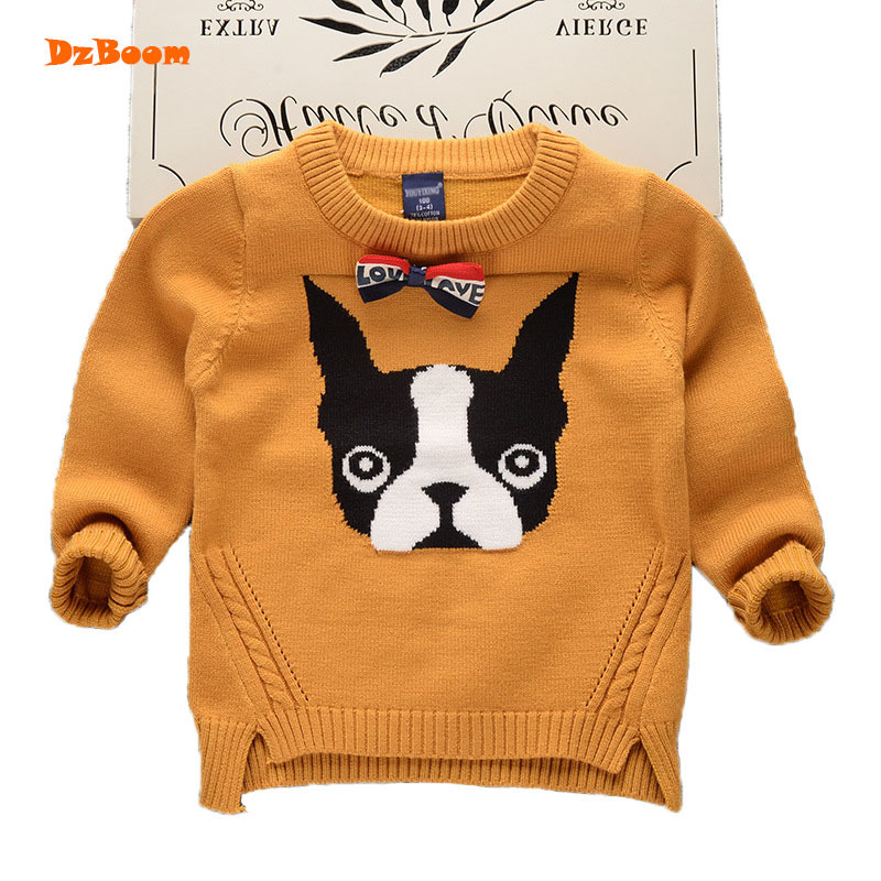 DzBoom Baby Clothes O-Neck Warm Sweater Children Toddler Kids Pullovers Dog Bulldog Winter Autumn Knit Loose Top For 3-8 Years