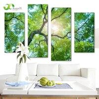 4 Moderno Painel Impresso Natureza Árvore Pintura A Óleo Da Arte Da Parede Da Lona Retratos Da Parede Para Sala Unframed Cuadros Decoracion PF1079