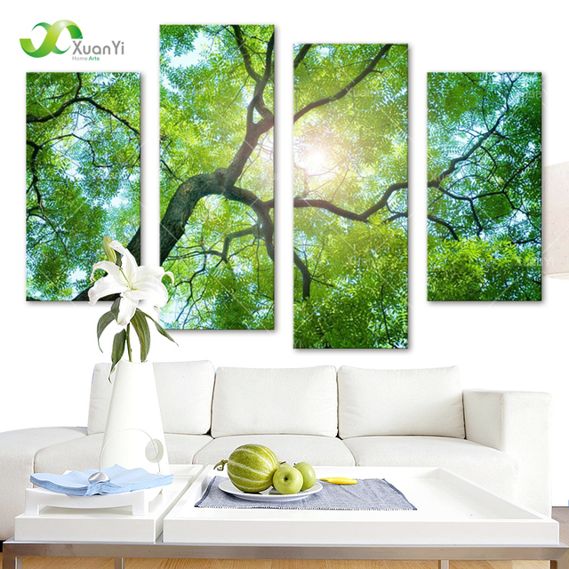 4 Panel Modern Printed Nature Tree Oil Painting Canvas Wall Art ...