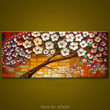 Canvas painting on the wall painting for entrance way canvas wall art photos palette knife hand painted white flower tree 1