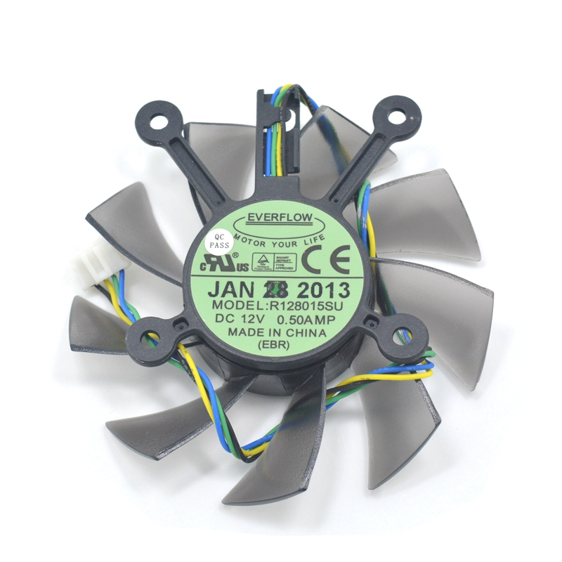 Computer Cooler Fan EVERFLOW R128015SU FD8015U12S  DC 12V 0.50AMP 4Pin PWM 75MM Cooling Fan For ASUS EAH5830 GTS 260 450 Used 4pin mgt8012yr w20 graphics card fan vga cooler for xfx gts250 gs 250x ydf5 gts260 video card cooling