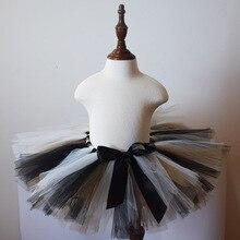 Черный/белый/коричневый пышная юбка-пачка для обувь девочек Детские День рождения тюль пачки Дети танцевальная петтишка костюм на Хэллоуин