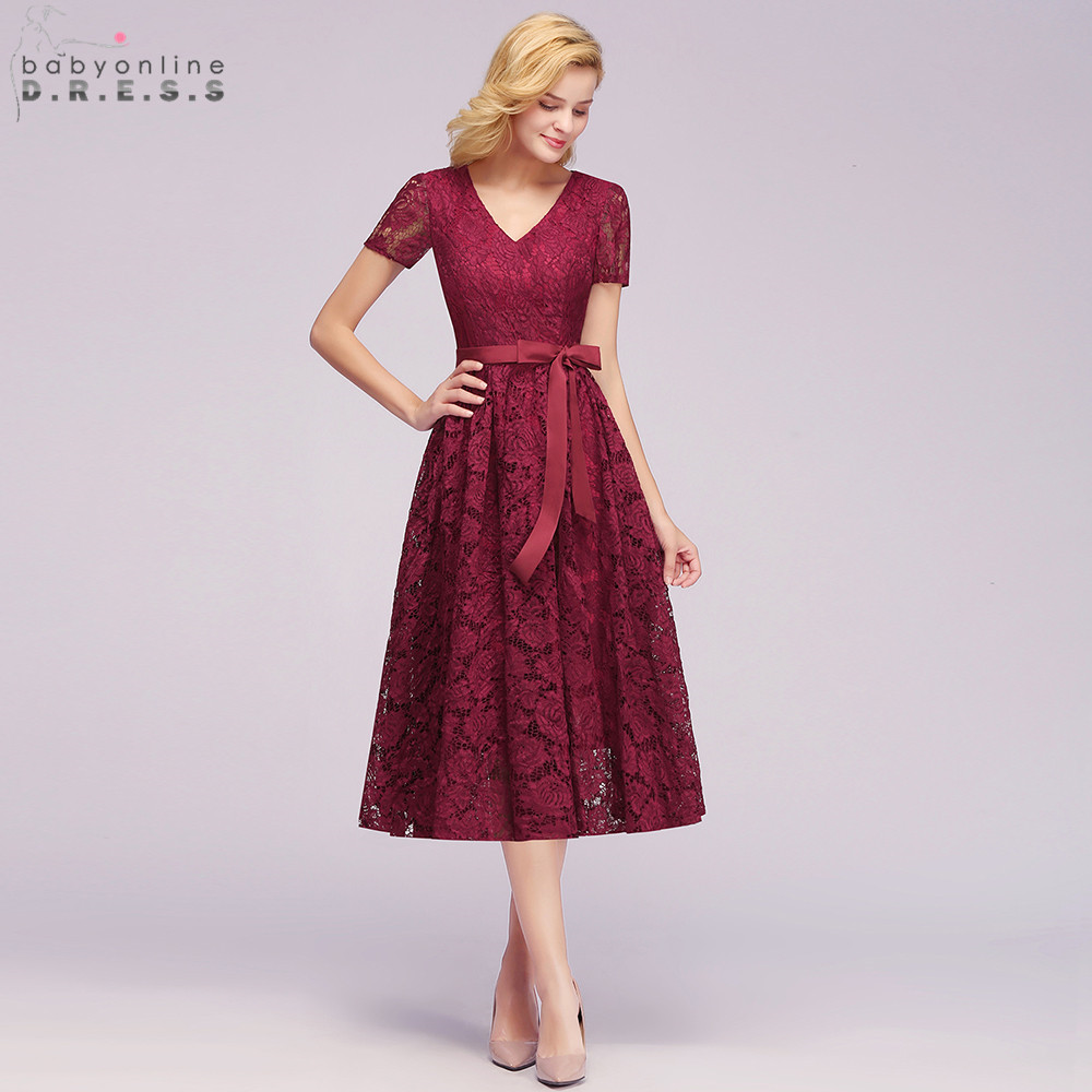 US $29.99 30% OFF|New Plus Size Pink Lace Short Evening Dress Cheap V Neck  Short Sleeve Short Evening Gowns With Sashes Robe De Soiree Courte-in ...