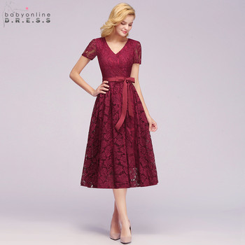 New Plus Size Pink Lace Short Evening Dress Cheap V Neck Short Sleeve Short Evening Gowns With Sashes Robe De Soiree Courte plus size short sleeve lace shift dress