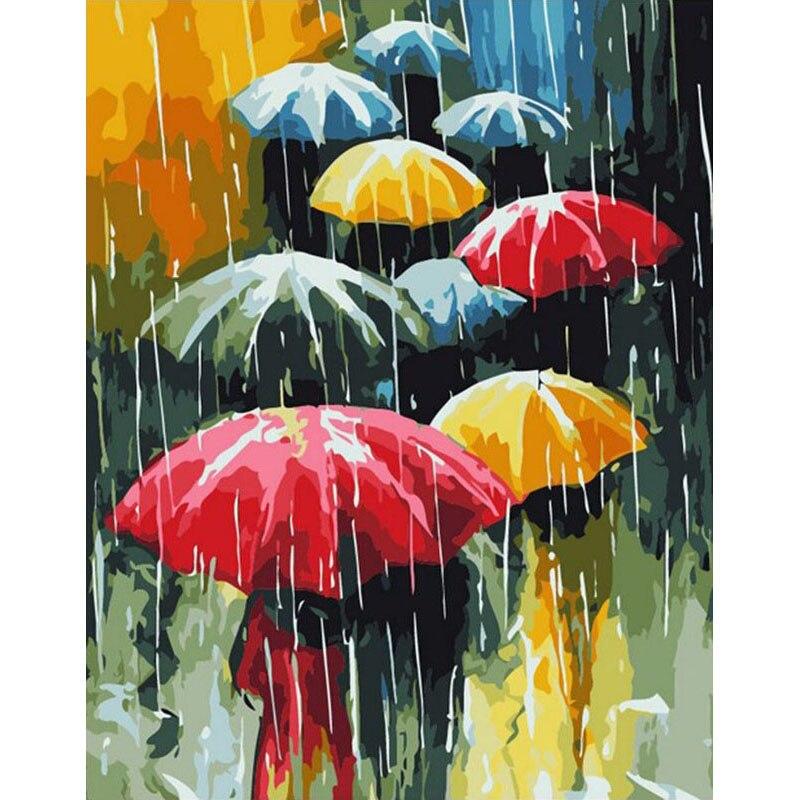 Pintura por números paraguas lluvia paisaje DIY sala de colorear por números arte decoración del hogar arte imagen