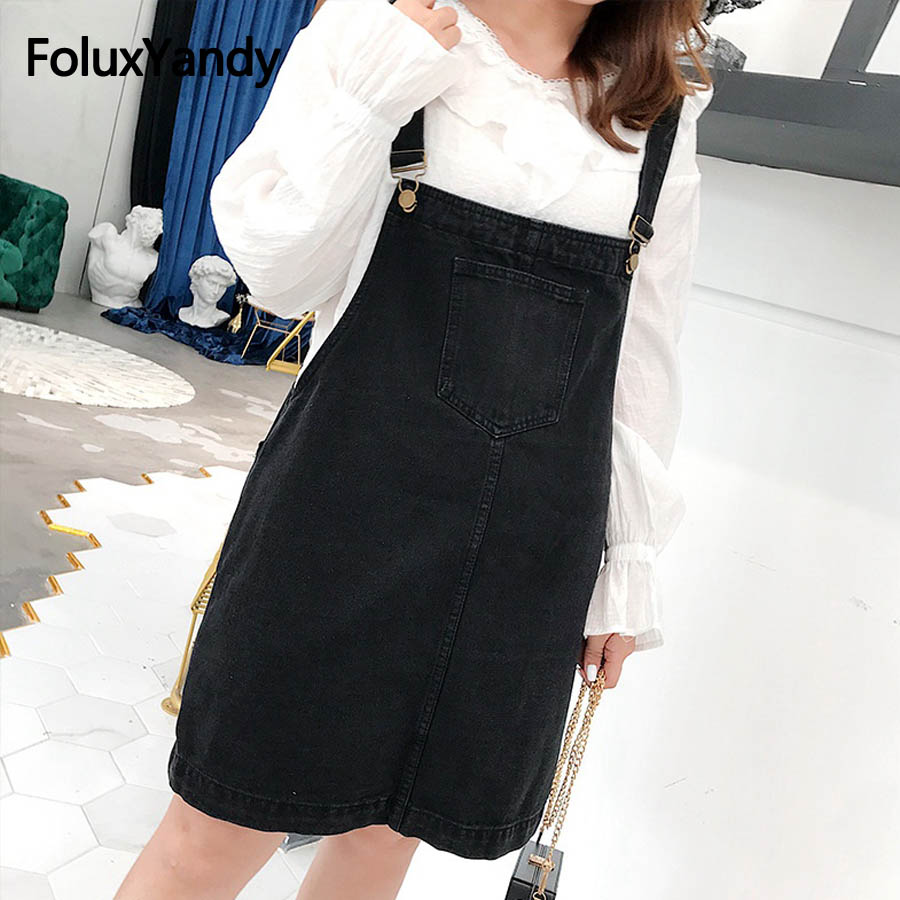 US $27.95 10% OFF|New Casual Denim Overalls Dress Women Plus Size 3XL 4XL  Sleeveless Strap Dress Suspenders Black Mini Vestidos OLL185 681-in Dresses  ...