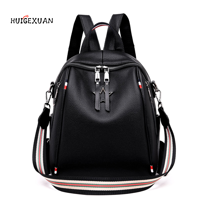 New Women Backpack Genuine Leather Fashion Causal Bags High Quality Cowskin Female Shoulder Bag Backpacks For Girls High Quality цена