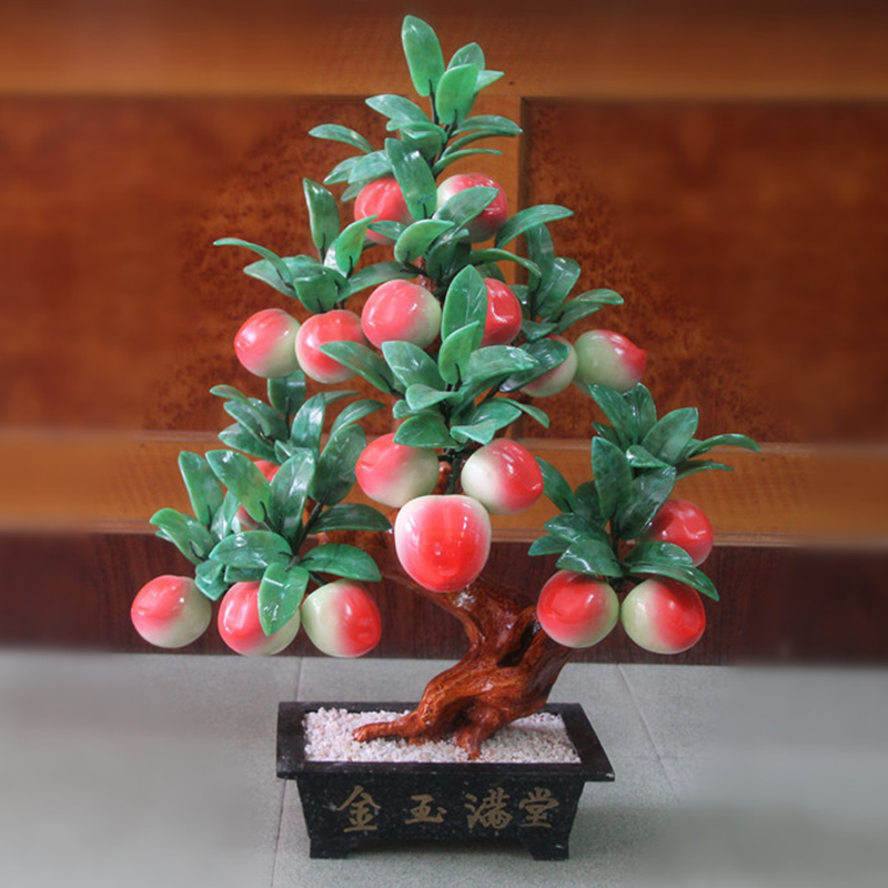 Jade bonsai 18 peach trees Peach-Shaped Mantou Xian jade ornaments jewelry creative gifts crafts Home Furnishing living room xinqite home furnishing ornaments product suspension globe round 3 inch 85mm blue english version of the spot