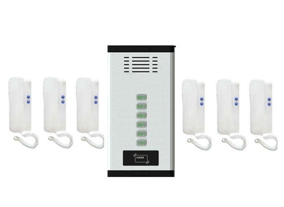 Xinsilu Direkt Drücken Sie Die Taste Audio Tür Telefon Mit Id-karte Entriegelung Funktion Für 6 Wohnungen Sicherheit & Schutz 2-wired Audio Intercom System