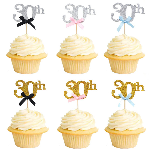 10pcs 30th Birthday Party Decoration Gold Cupcake Cake Topper 20th 40th 50th 60th Decorations Adult Favor