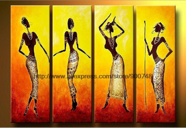 The Art African Dancers Home Ation Hall Decoration Painting Wall Mural Bathroom Background High Quality Oil Paintings On Ca In Painting Calligraphy From