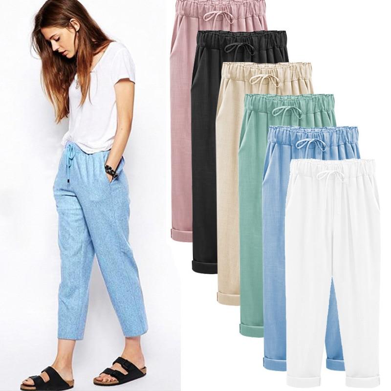 ZOGAA Brand women pants Casual fashion linen straight cropped streetwear 5 colors plus size S-6XL