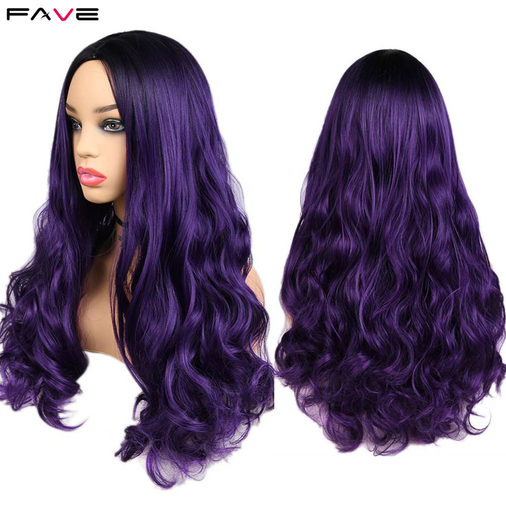 FAVE Long Wavy Black Purple Dark Root Heat Resistant Fiber Synthetic Wig For Black/White Women 26 Inch Cosplay Hair Wig