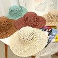 2016 Корейский летом новый полый вентилятор ручной соломенной шляпе большой головной соломенная шляпа открытый шлем солнца женский дикий