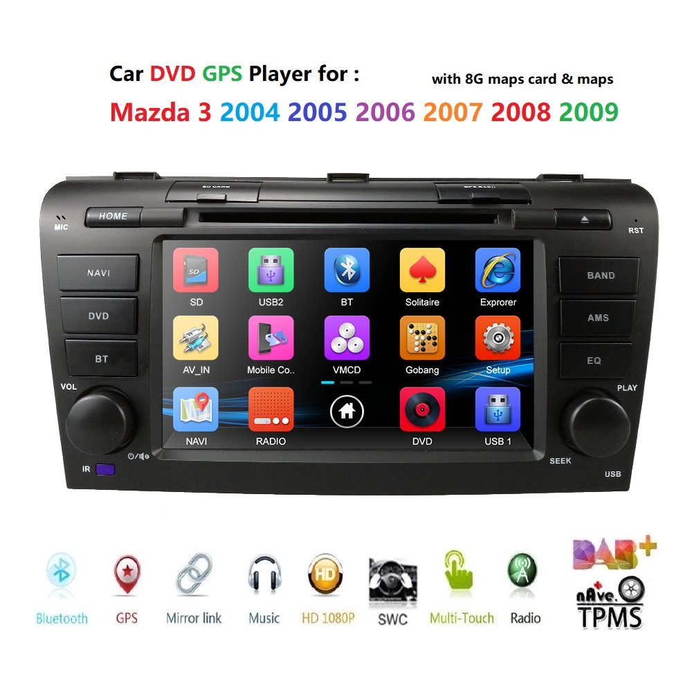 car dvd for <font><b>Mazda3</b></font> Mazda 2004-2009 car radio multimedia player gps navigation 2din 7 inch car Monitor steering wheel Camera dab+ image