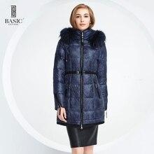 Basic-editions 2016 женщины зима капюшоном енот меховой воротник утка вниз длинный пуховик S-4XL 14W-11