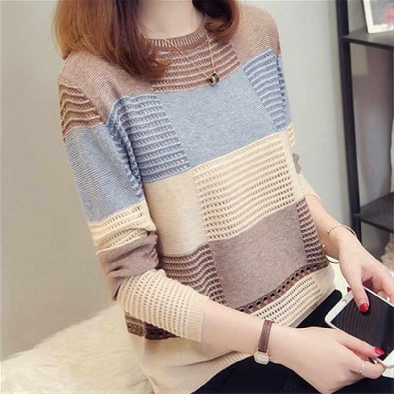 2019 אביב סתיו נשים סוודר קוריאני צבע התאמת loose פסים ארוך שרוולים סוודר סריגי סתיו הולו סוודר AS1087