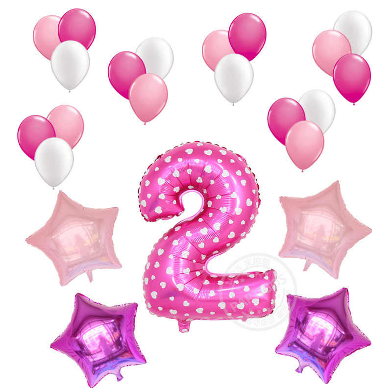 23 pièces/lot 32 pouces rose numéro chiffre feuille ballon bébé douche 1st fête d'anniversaire garçon étoile hélium bleu Latex Globos décoration
