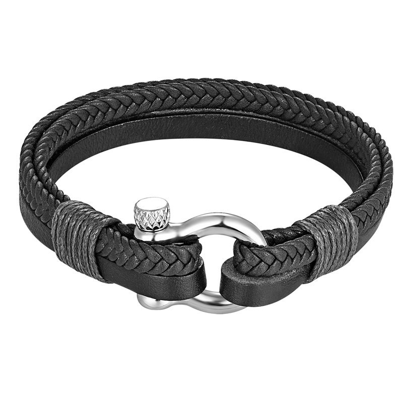 Men Genuine Leather Braided Bracelet Bangles 316l Stainless Steel Lucky Horseshoe Charm Bracelet Fashion Jewelry Gifts Wholesale