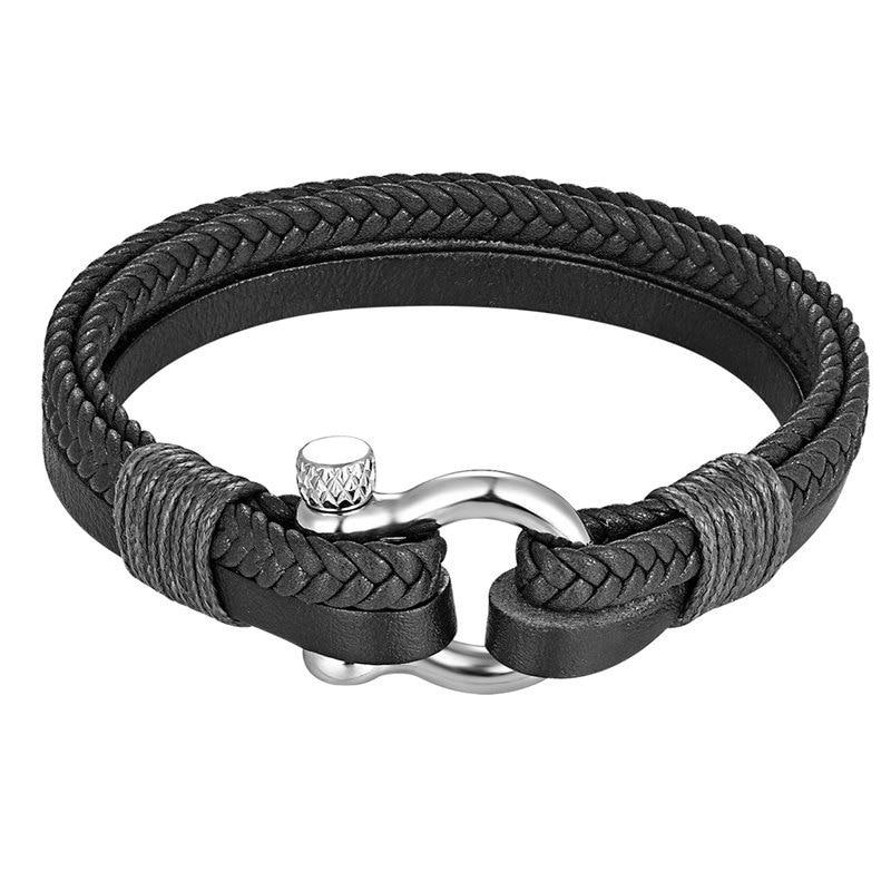 Men Genuine Leather Braided Bracelet Bangles 316l Stainless Steel Lucky Horseshoe Charm Bracelet Fashion Jewelry Gifts Wholesale