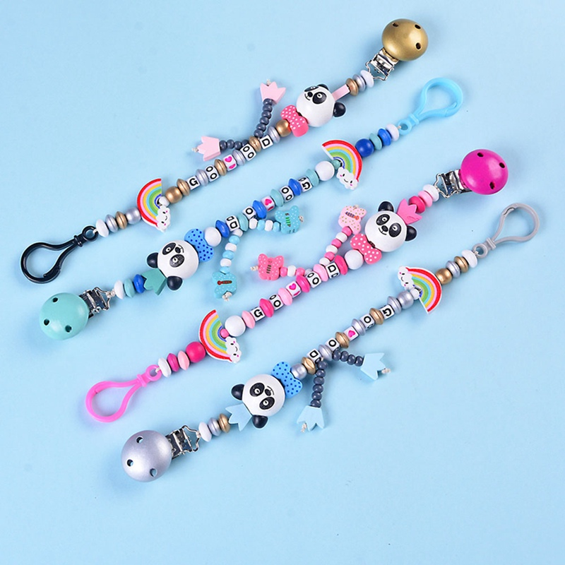 Baby Pacifier Clip Pacifier Chain Panda Beads Handmade Cute Colourful Beads Dummy Clip Baby Soother Toys Holder