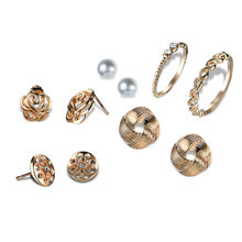 Crazy Feng Alloy Simulated Pearl Geometric Earrings Rings Wedding Jewelry Sets Gold Silver Color Vintage Flower Charm Bijoux(China)